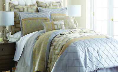 8 Piece Comforter Set Size King/queen Bed Bedding Home Silver gray/Mustard