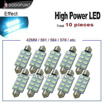 10pc Festoon 42MM 8Chip Aqua Ice Blue Map or Dome Interior LED Light 211-2 578