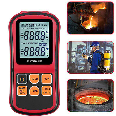LCD Digital 2 Channel Thermometer Temperature Tester Meter & K-type Thermocouple