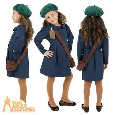 1940s Wartime School Girl Costume Book Day Girls Fancy Dress Kids Outfit