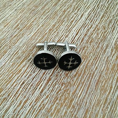 Mens Black with silver Celtic Cross Glossy Stainless Steel Cuff Links