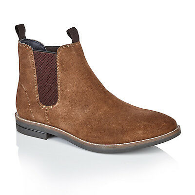 Mens Silver Street Sloane Tan Suede Ankle Chelsea Boots with Elastic Gusset