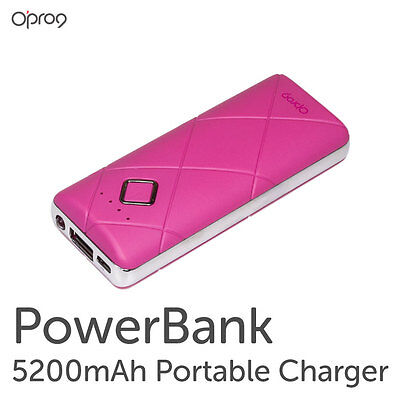 Opro9 Power Bank 5200mAh Portable Charger and External Battery Power Bank-Pink