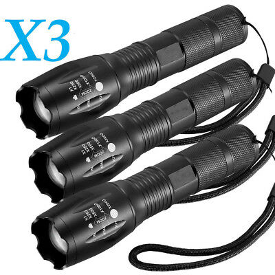 3pcs 12000LM  T6 5 Modi LED Taschenlampe Zoom 18650 Flashlight Torch Free Ship