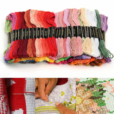 100 Mixed Colours CROSS STITCH Cotton EMBROIDERY THREAD Sewing Skeins Floss Kit