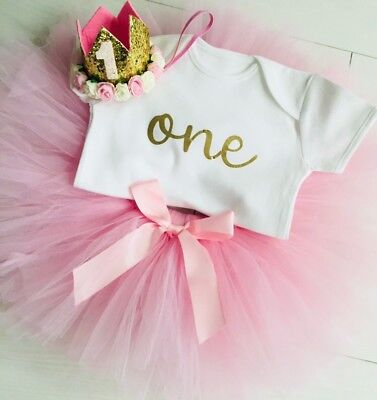 Girls 1st First Birthday Pink Tutu Skirt Outfit Cake Smash Set & Gold Crown One