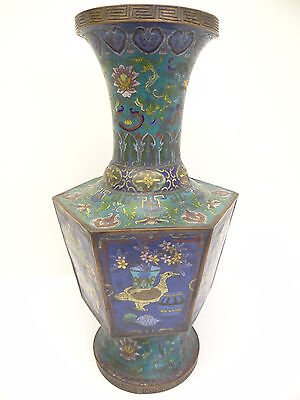 Cloisonné China Chinese Vase Antique Asian Copper Large Ming? Blue Estate Old