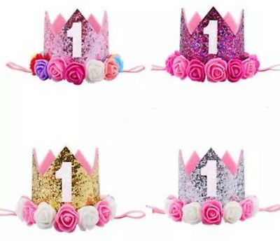 Baby Girls 1st First Birthday Cake Smash Outfit Prop Crown Hat Headband 3 Colour