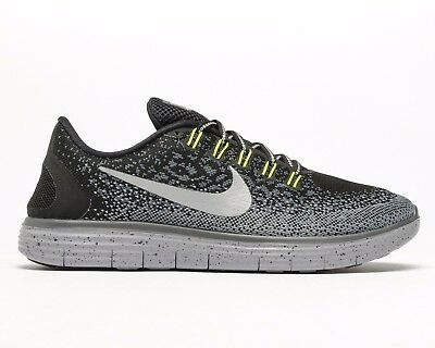 cfb447f5299e Womens Nike Free Run Distance Shield Running Trainers Black Grey 849661 001