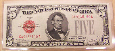 1928 C $5 Red Seal United States Note # G 49135190 A - NICE AU