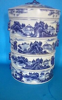 """Vintage/Antique  Chinese Porcelain Four Box Stacking Box -  Chinese Bowls 11"""""""