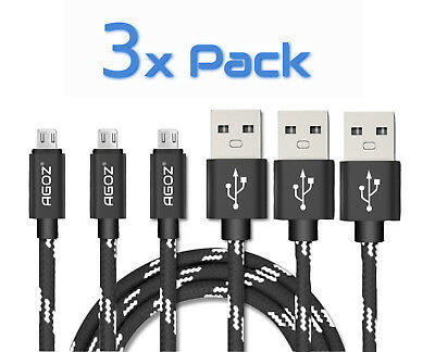 3 Pack Agoz Braided Micro USB FAST Charger Data Sync Cables for LG phones