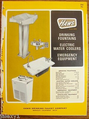 1964 HAWS Drinking Fountains WATER COOLERS Hot Cold ER Equip Urinals Vtg Catalog