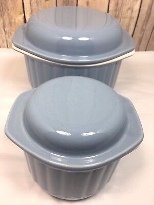 SET OF 2 Blue Nesting Casserole Baking Dish Round Japan Oven Microwave Safe EUC