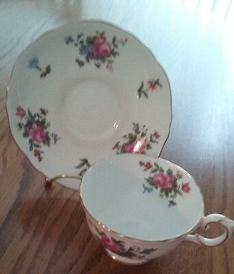 Vintage Crown Staffordshire Rose Spray Cup and Saucer