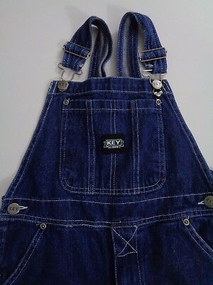 KEY YOUTH Bib Overalls Dark Wash Blue Denim Button Fly Size 12  28Wx25L o