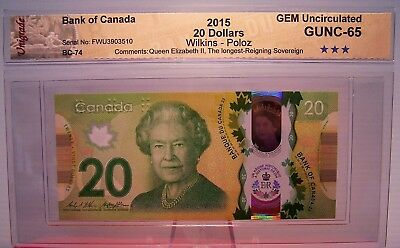 Canada 2015 $20 Polymer Note Commemorative Queen's Longest Reigning