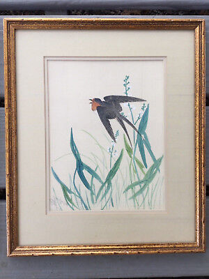 Vintage Framed Hand Painted Japanese Watercolor Painting Signed Bird