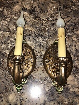 Wired Pair Antique Wall Sconce Fixtures Riddle Co. Pat Pending 17D
