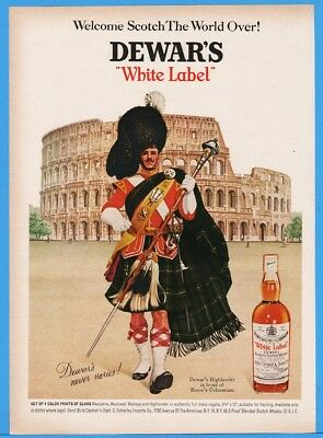 1967 Dewars White Label Scotch Highlander COLOSSEUM ROME Print Ad