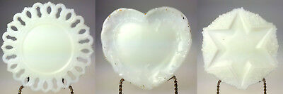 White Milk Glass Pierced Lace Edge Plate Lot of 3 Heart Round 6 Sided Star