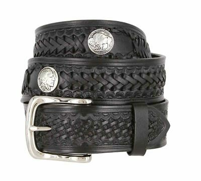 "Western Scorpion Hand Woven Genuine Leather Belt w/ Indian Concho 1-1/2"" Wide"