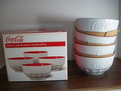 Coca Cola collectable Cereal /Soup Bowls Classic Red and White Complete Set of 4