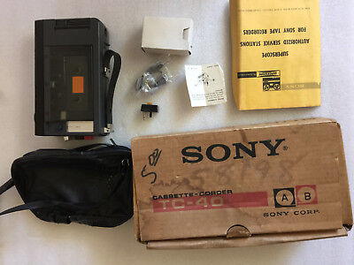 Vintage Sony Tc 40 Cassette Recorder W Microphone With Ac Adapter