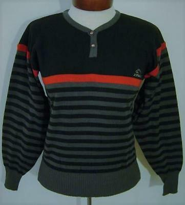 VINTAGE 70s 80s JORDACHE STRIPED ACRYLIC EMBROIDERED LOGO HENLEY SWEATER MED NWT
