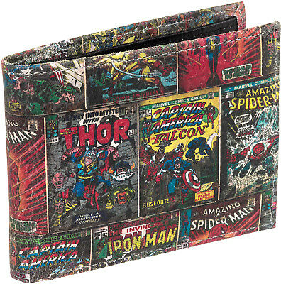 Marvel Comics Leather Multi-Character Superhero Bifold Wallet w/ Gift Box NEW