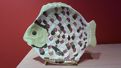 Vintage HOLLAND Pottery Ceramic Multi-Colored Fish Shaped Serving Dish