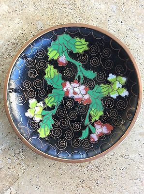 Vintage Chinese Cloisonne Small Tray Dish Blue Flowers Asian Early 1900's