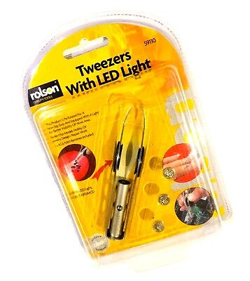 Rolson Tweezers With Led Light & Perforated Easy Grip Quality Tools