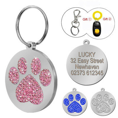 Rhinestone Personalized Engraved Pupy Dog Tags Paw Cat Pet Tags Free Clicker