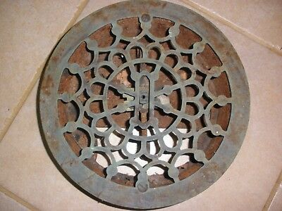 Round Cast Iron Wall Floor Register Heat Grate Antique Louvered
