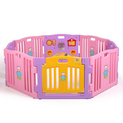 Pink Baby Girl Playpen Kids 8 Panel Safety Play Center Yard Home Indoor Outdoor