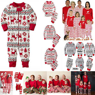 Family Matching Christmas Pajamas Sets Xmas Sleepwear Nightwear Adults Kids Baby