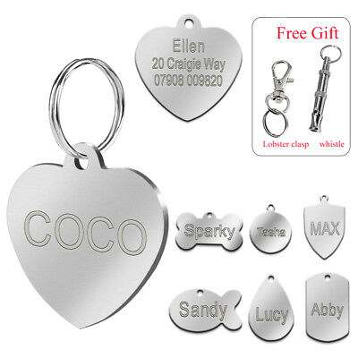 Personalized Dog Tags Custom Engrave Cat Puppy ID Nameplate Tags FREE Whistle