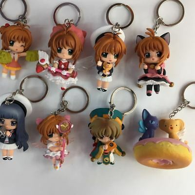 8pcs Card Captor Sakura keychain Figures Toys Doll Pendant Ring Charms