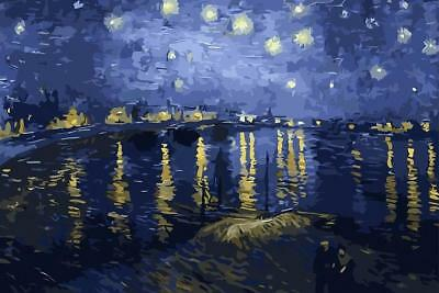 Starry Night Over The Rhone By Vincent Van Gogh Art Silk Poster print home Decor