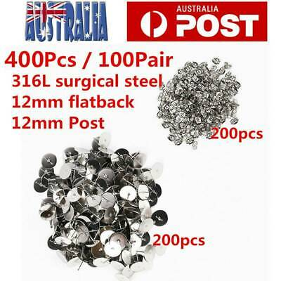 400X Flat Stud Earring Post 12mm Pads and backs Hypoallergenic Surgical Steel