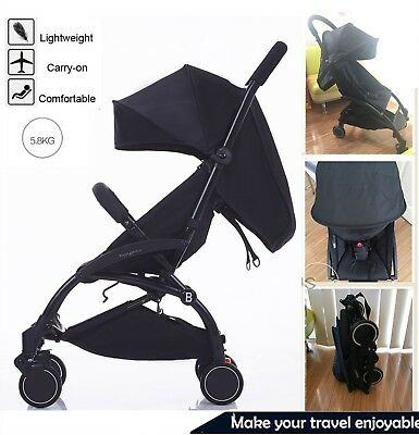 2019 All-Black Compact Lightweight 5.8kg Baby Pram Stroller Travel Carry on