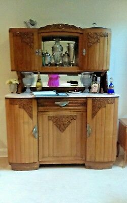 WOW! CUSTOM ART DECO HAND CARVED W00D & MARBLE Bar Server China CabInet Buffet