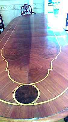 11 Ft Antique Book Marked Marquetry Inlay Dining Table 4 Leaves  + Pads