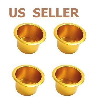 US SHIP Gold Jumbo Aluminum Poker Table Cup Holders Set of  4
