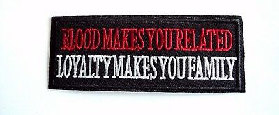 1x Blood Loyalty Biker Patches Embroidered Cloth Applique Badge Iron Sew On