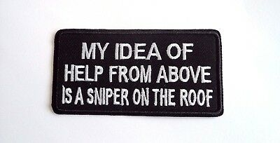 1x Help Above Sniper Biker Patches Embroidered Cloth Applique Badge Iron Sew On