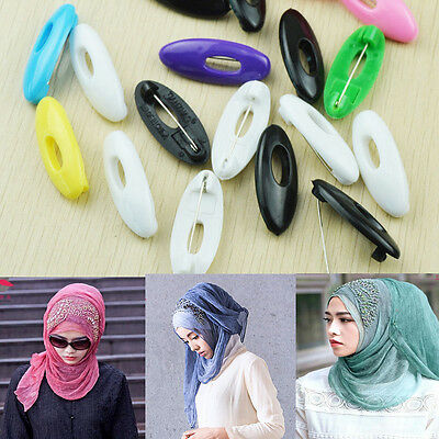6pcs Useful Plastic Scarf Pins Muslim Hijab Safety Pin Multi Colors Charm Decor