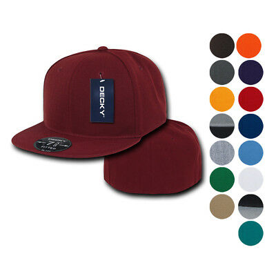 Decky (Pack of 2) Fitted Flat Bill Retro Fashion Baseball Hats Caps