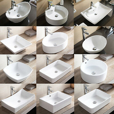 Porcelain Ceramic Vessel Bathroom Sink Basin with Pop Up Drain Combo White